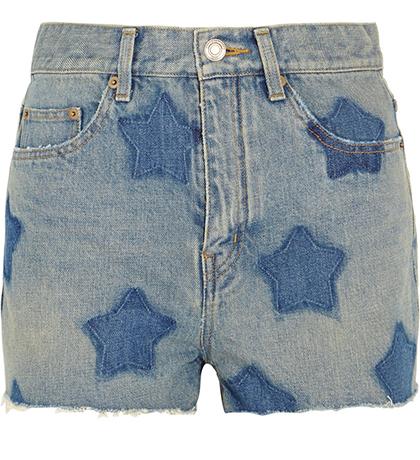 St Laurent printed denim shorts